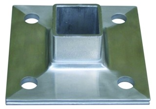 Bodenflansch V2A, 100/100/6mm, f.Rohr 40/40mm