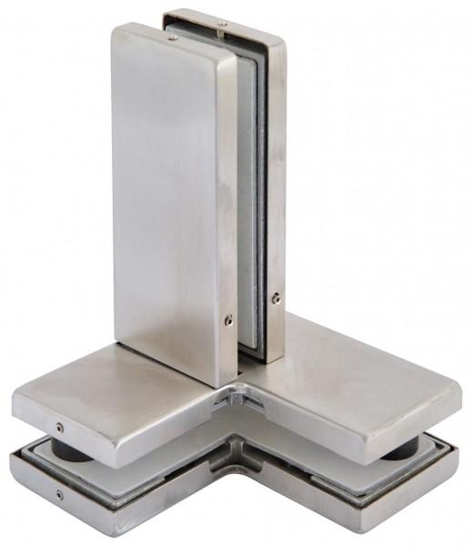 Verbinder V2A,f.zwei Glasplatten+Flügel,106x106x31