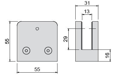 Glashalter V4A,Größe 55/55mm,Viereckform, flach