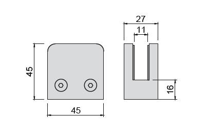 Glashalter V2A,45/45mm, flach, einschl.Stift