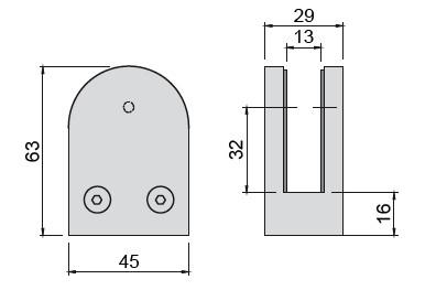 Glashalter V2A,Halbrund-Form,63/45mm, flach