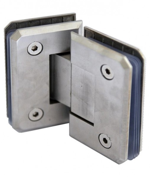 Glastür-Verbinder V4A bis 180°,55x90mm,Glas 6-12mm