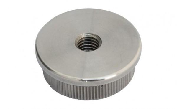 Endkappe, V4A, 42,4/2mm, flach, Guss hohl, M8,