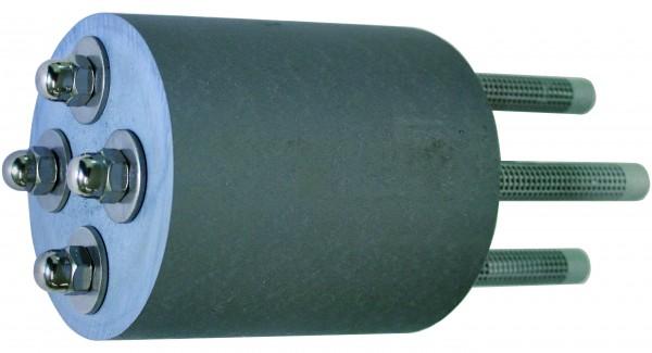 Kunststoffdistanz ø120x140mm mit 4x Gewindestangen
