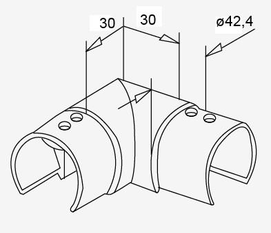 Eck-Verbinder waagrecht V2A f. Nutrohr 42,4x1,5mm