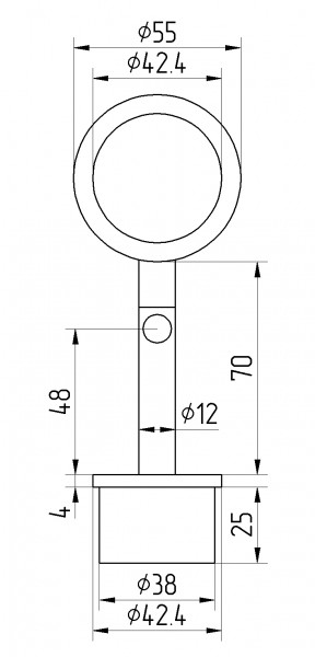Rohraufsatz Edelstahl V2A ,beweglich, f.Handl.42,4