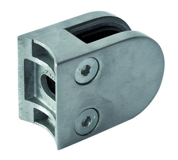 GlashalterV2A Edelstahl,halbrund,50/40mm,Rohr 42,4