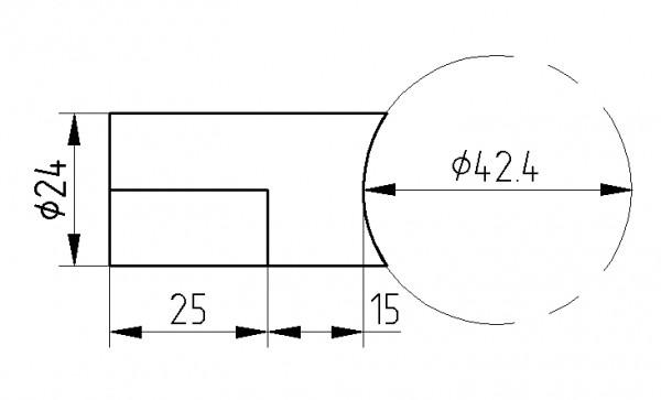 Lochblech-Halter V2A, f. Rohr 42,4mm, geschliffen