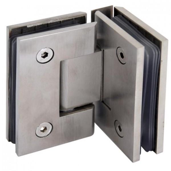 Glastür-Verbinder V4A bis 90°, 65x90mm,Glas 6-12mm