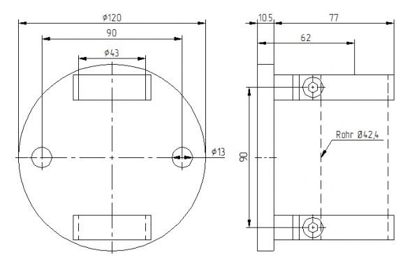 Wandbefestigung V2 A, Platte ø 120mm,f.Rohr 42,4mm