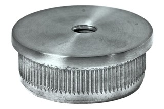 Endkappe V2A,massiv, 33,7/2mm, flach,m.Gewinde M8,