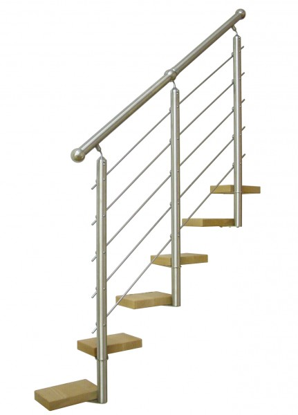 Edelstahl-Treppengeländer inkl.5 mitl. Füllstäbe