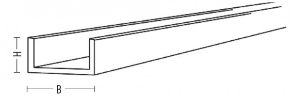 U-Profil 15x15x15x1mm L=1980mm Edelstahl V2A