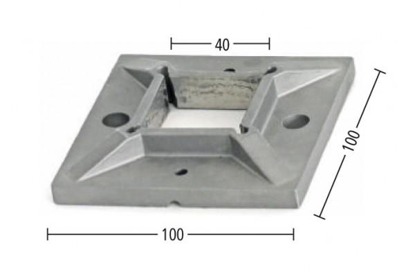 Anschraubplatte V2A,100/100/9mm,f.Rohr 40/40mm