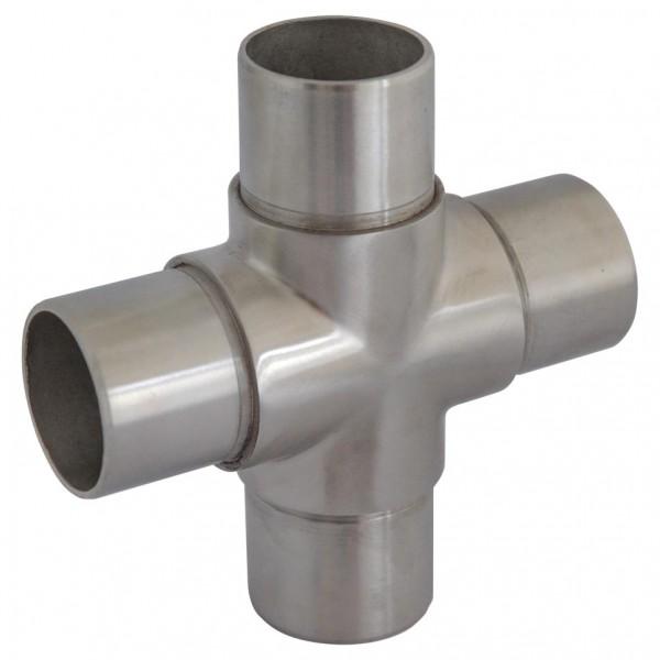 Rohr-Verbinder (Kreuz) V4A, f. Rohr 42,4/2mm