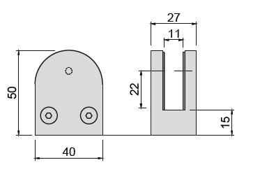 Glashalter V2A Edelstahl,halbrund,50/40mm,flach,