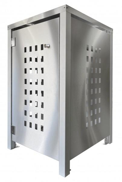 Müllbox Edelstahl mit Lochdesign Zeltdach
