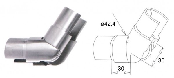 Gelenk 25-55° aufwärts für Nutrohr ø42,4x1,5mm