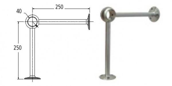 Handlaufträger V2A, für Rohre ø 40mm,