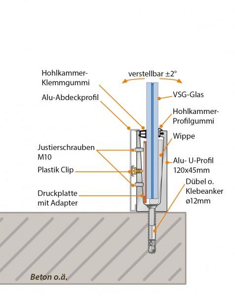 GlasTwin GTP1 U-Profil 120 x 45mm, z. Bodenmontage