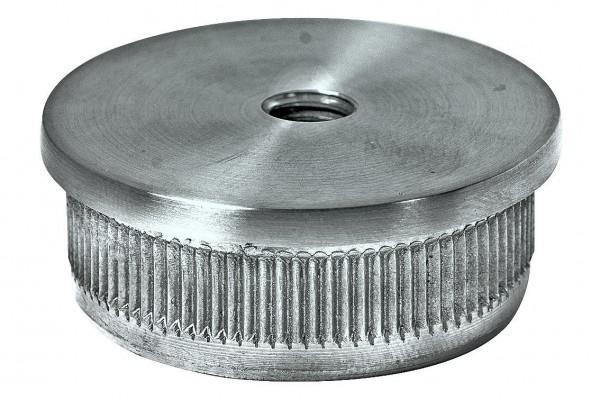 Endkappen V2A, 48,3/2mm, Guss hohl, M8, flach