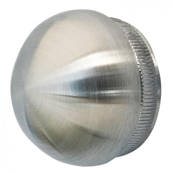 Endkappe halbrund,f.Rohr 48,3/2mm, V2A, massiv