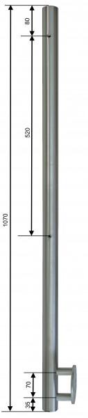 Sonderposten Stab V2A ø42,4/2,0 x1070 seitl. Mont.