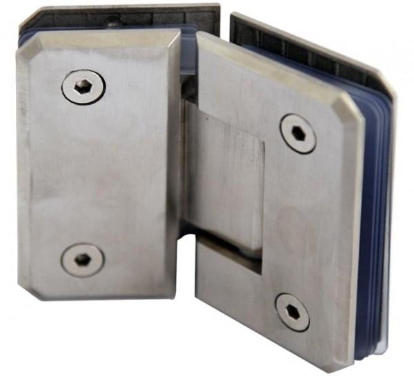 Glastür-Verbinder V4A bis 135°,55x90mm,Glas 6-12mm